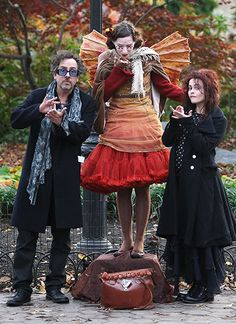 Tim Burton and Helena Bonham Carter in Washington D.C. after the white house's annual Halloween party  <3