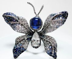 cindy chao-    Star Sapphire and Diamond Butterfly Ring by Cindy Chao