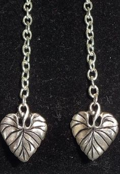 Silver chain and heart charm dangle earrings by DesignsByCherrae, $15.00