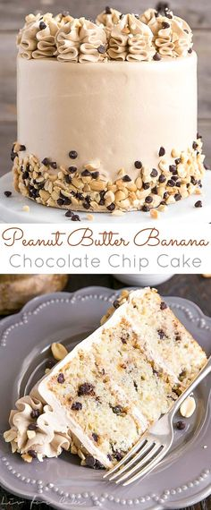 This Banana Chocolate Chip cake is paired with the most amazing peanut butter frosting you will ever have! It's a truly delicious flavour combination and a new favourite.   livforcake.com