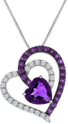 JCPenney FINE JEWELRY Lab-Created Amethyst & White Sapphire Interlocking Heart Pendant Necklace