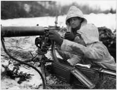M1917 .30 Cal. U.S. Machine Gunners during the Battle of the Bulge - December 1944
