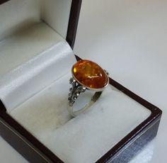 Nostalgischer Ring Silber 925 Bernstein alt SR411 von Schmuckbaron