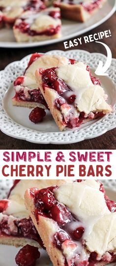 Cherry Desserts, Cherry Recipes, Easy Desserts, Delicious Desserts, Yummy Food, Cherry Pie Bars, Sweet Cherry Pie, Cherry Pies, Cherry Cobbler