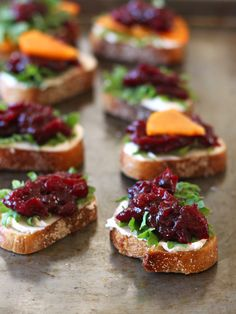 Up your cheese and crackers game with Balsamic Roasted Cranberries. Spread crispy toasted bread slices with goat cheese. Top with arugula or kale and a heaping teaspoon of balsamic roasted cranberries.