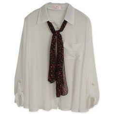 Women Long Sleeve Lapel With Scarf Loose Khaki Chiffon Blouses One... ($16) via Polyvore