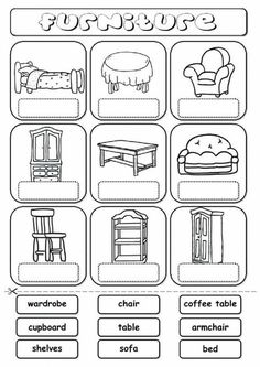 Furniture (drag and drop) Language: English Grade/level: elementary School subject: English as a Second Language (ESL) Main content: Furniture Other contents: furniture, house, home English Primary School, Learning English For Kids, English Lessons For Kids, Kids English, English Words, Teaching English, Learn English, English Worksheets For Kids, English Resources