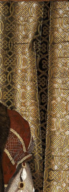 Henry VIII by Hans Holbein the Younger  https://upload.wikimedia.org/wikipedia/commons/0/07/Workshop_of_Hans_Holbein_the_Younger_-_Portrait_of_Henry_VIII_-_Google_Art_Project.jpg  The detail on the pattern ties the whole piece together. The renaissance is known for it's intricately detailed paintings and this does not disappoint.