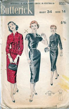 1950s Vintage Sewing Pattern Butterick by allthepreciousthings, $20.00
