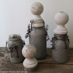 Hand painted mason jars with wooden vintage by AnitaSperoDesign