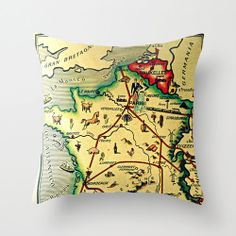 France Map Pillow   Vintage Paris
