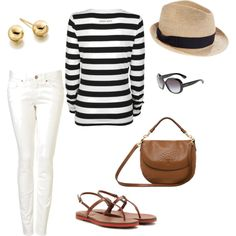 straw hat + stripes + white + tan leather  by norppaliina on Polyvore