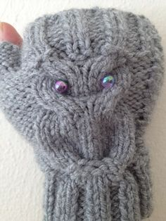 Owl figure grey Wool Fingerless Gloves Armwarmers Hand Knit