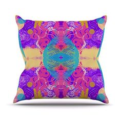 KESS InHouse VN1026AOP03 18 x 18-Inch 'Vasare Nar Glitch Kaleidoscope Pink Purple' Outdoor Throw Cushion - Multi-Colour ** Click image for more details. #GardenFurniture and Accessories