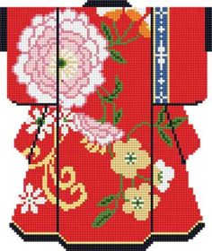 PINK BLOSSOMS ON RED KIMONO needlepoint