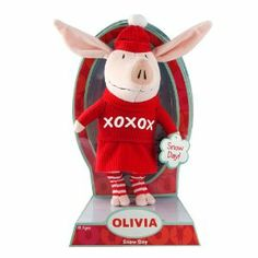 """Olivia Snow Day by Olivia. $14.40. Olivia loves snow days and has a Santa hat to match^Feeling imaginative? Get whisked away and become a princess for a Day^Join Olivia in all her adventures and infuse your day with fun and fantasy^Includes 1 uniquely dressed 8? olivia plush^. From the Manufacturer                Olivia speaks to both the princess and the adventurer in every girl. Now she comes in an 8"""" soft and intricate plush doll. Find her playing in her red jumper, or bun..."""
