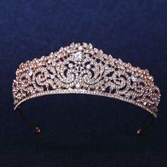 Rose Gold CLEAR AUSTRIAN RHIESTONE CRYSTAL HAIR TIARA CROWN BRIDAL WEDDING PARTY #JK2015 #Tiara