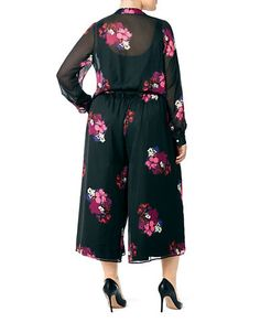 <ul><li>Feminine flair with graceful floral chiffon</li><li>Roundneck</li><li>Long sleeves</li><li>Belted waist</li><li>Lined</li><li>Polyester</li><li>Machine wash</li><li>Imported</li></ul> Palazzo Jumpsuit, Floral Chiffon, Lord & Taylor, Plus Size Dresses, Cold Shoulder Dress, Feminine, Long Sleeve, Shopping, Sleeves