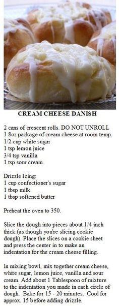 Cream Cheese Danish made with crescent rolls. by terri Cream Cheese Danish made with crescent Köstliche Desserts, Delicious Desserts, Dessert Recipes, Yummy Food, Breakfast Dishes, Breakfast Recipes, Breakfast Ideas, Breakfast Casserole, Breakfast Bake