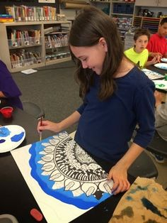 Zentangles and tint and shade | Jamestown Elementary Art Blog: Fifth-grade Georgia O'Keeffe Zentangles with…