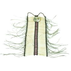 """19th century Nez Perce bone tube breastplate with abalone pendent; 18"""" x 8"""" plus fringe. Assembled from old pieces in 1969 by R.L. Williams. Brass and bone bead"""