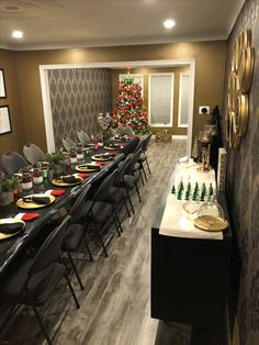Textured gold paint, holiday setup for 16