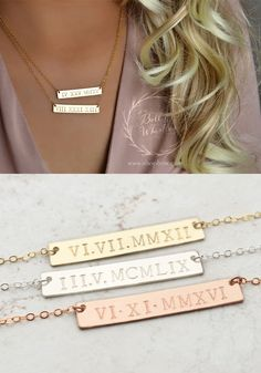 Roman Numeral Necklace Custom Bar Necklace Date Necklace Birthday Gift Gold Bar Necklace Wedding date anniversary date Tiny Necklace, Dainty Gold Necklace, Delicate Jewelry, 14k Gold Chain, Diamond Pendant, Jewelery, Fine Jewelry, Anniversary, Birthday