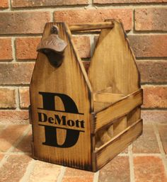 Wooden Beer Tote Personalized Beer Tote Wood 5 Year Anniversary Wedding Beer Caddy Father's Day Birthday Groomsmen Gift Mancave Groom