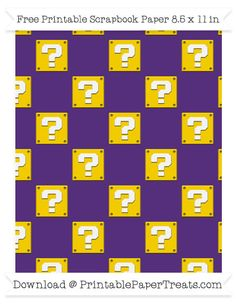 Free Royal Purple Large Mario Question Box Pattern Paper - Super Mario Bros