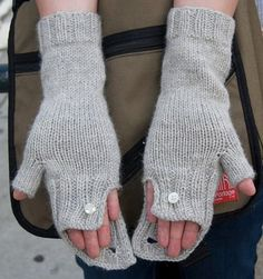 Commuter fingerless mittens The Commuter-cabled fingerless gloves- folded ribbed cuff that is buttoned on the top cable. An optional hidden second button under the cuff of The Commuter allows for extra coverage on cooler days. Fingerless Gloves Knitted, Crochet Gloves, Knit Mittens, Knit Or Crochet, Knitted Hats, Free Knitting, Knitting Patterns, Hat Patterns, Mittens Pattern