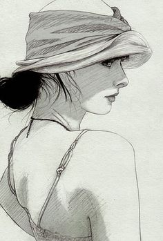 Uncredited beautiful female portrait profile drawing. (Resembles work of illustrator Kelly Smith. birdyandme.com.au)