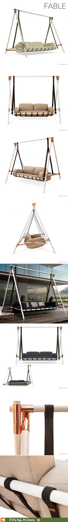 Finally, a nicely designed porch swing! The Fable swing is a suspended swinging sofa   available in various colors. Details at http://www.ifitshipitshere.com/the-fable-swing/