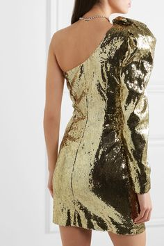 Dundas One-shoulder Sequined Crepe Mini Dress - Gold , Sequin Mini Dress, Gold Dress, Short Dresses, Prom Dresses, Formal Dresses, One Sleeve Dress, Paris Outfits, Festival Wear, Clubwear
