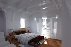 Impressie van een zichtbare constructie in een slaapkamer