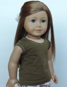 Upcycled Moss Green T-Shirt American Girl by HerDollEssentials
