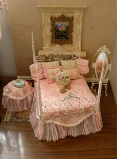 """Dollhouse Miniature 1:12 Scale Artisan Made Wrought Iron Bedroom Suite """"Lillie"""" on Etsy, $125.00"""