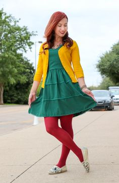 Doe & Rae dress - ModCloth yellow cardigan & tights - Etsy painted TOMS - Have Clothes, Will Travel