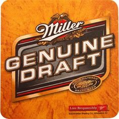"Miller Genuine Draft MGD Beer Coasters - Set of 100 by KegWorks. $12.99. Perfect for home or commercial bars.. Dimensions: 3 1/2""W x 3 1/2""H.. Bright yellow with the Miller Genuine Draft logo.. Made of high grade pulp board.. 100 coasters included.. When you buy coasters you want to buy a product that will protect your surfaces and say something about you! These bold paper drink coasters let everyone know that Miller Genuine Draft is your beer of choice. With 100 in..."