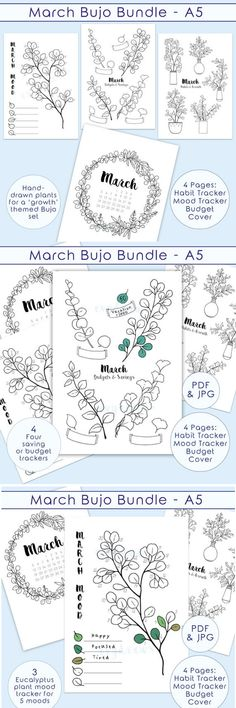 Monthly mood tracks for your bullet journal! Bullet Journals are a fun way to plan out your year! But it takes so much time! With these bullet template mood trackers you can track your mood all month long! Get your bujo ready for spring! #moodtrackers #bulletjournals #ad #printable #layouts #bujo #bulletjournalideas #bulletjournaljunkies #planners #etsy