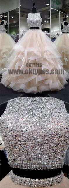 Two Piece A-line Beading Prom Dresses, Open-back Prom Dresses, Prom Dresses, - Bal de Promo Open Back Prom Dresses, Prom Dresses 2018, A Line Prom Dresses, Mermaid Prom Dresses, 15 Dresses, Pretty Dresses, Beautiful Dresses, Evening Dresses, Bridesmaid Dresses