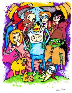 Farmworld FInn and Jake, 8.5x11 inch inkjet print Adventure Time Fan Art. $10.00, via Etsy.