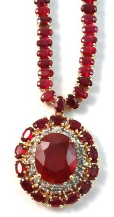 RUBY AND FOURTEEN KARAT GOLD NECKLACE, featuring an oval-cut ruby weighing approximately cts. along with 149 oval-cut rubies and 16 round, brilliant-cut diamonds. Total estimated weight for all rubies: cts. Ruby Necklace, Ruby Jewelry, Diamond Pendant Necklace, I Love Jewelry, Jewelry Box, Vintage Jewelry, Fine Jewelry, Jewelry Necklaces, Bracelets