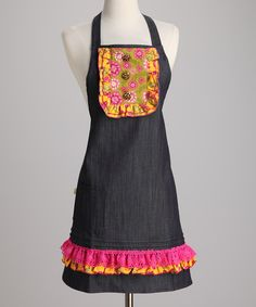 Denim Floral Jack & Jill Apron - Women Apron Diy, Sewing Aprons, Jack And Jill, Project Ideas, Hate, Passion, Bows, Buttons, Dining