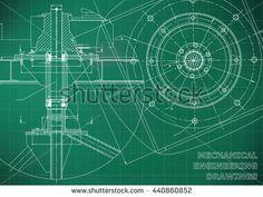 Mechanical engineering drawings. Vector green background. Grid line    #bubushonok #art #bubushonokart #design #vector #shutterstock  #technical #engineering #drawing #blueprint   #technology #mechanism #draw #industry #construction #cad