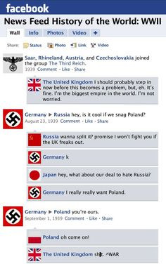 Facebook News Feed History of the World: World War I to World War II (not that far off from the truth!)