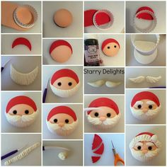 Santa cupcake topper tutorial                                                                                                                                                                                 More