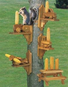 Squirrel Feeder Plan If you're a squirrel lover and this plan is for you! You can build 5 different squirrel feeders from this one great plan! That's right, you get the patterns for 2 different tracto
