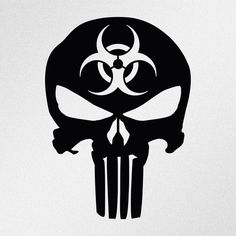Punisher Skull Biohazard Symbol Car Body Window Bumper Vinyl Decal Sticker #Oracal