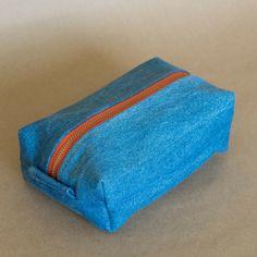 Upcycled Denim Multipurpose travel bag, Recycled denim cosmetic bag, Recycled Blue denim bag, toiletry bag