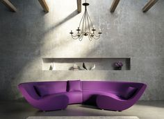 Fabulous Living Room Interior with U Shaped Leather Sofa Design plus Small Purple Pillow and Gray Wall Paint Color using Shelves and Chandelier Lamps and Rectangular Shaped White Carpet